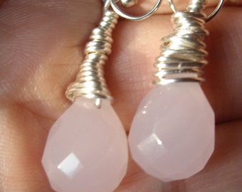 Rose QuartzTeardrop Wire Wrapped in Twisted Silver Earrings, Roped Rose Quartz