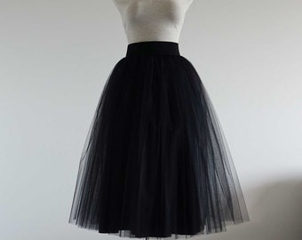 Image result for tea length a line black tulle skirt