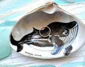 Baby Humpback Whale Ring Holder, Whale Art, Nursery Decor, Whale Gift, Whale Decor, Nautical Whale Illustration on Clam Shell