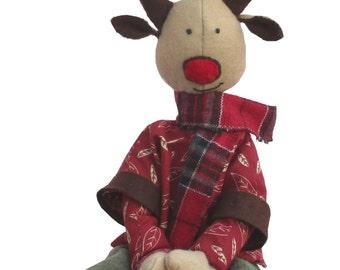 Ruben reindeer soft toy sewing pattern. fabric christmas reindeer