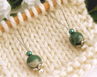 Knitting Stitch Markers, Tree Agate Semi-Precious Stones, Large Size, Snag Free, Jeweled Tool, Knitting Accessory, Supplies, Handmade, Gift