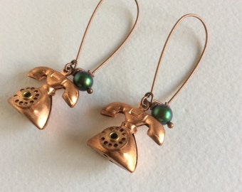Chatterbox Vintage Copper Telephone Earrings