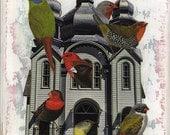 "Medium print from my original collage, ""The Bird House"" - Bird, Birds, Birdhouse, Nature, Garden, Surreal, Retro, iwearpartyhats"