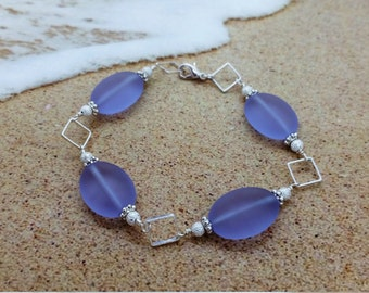 Purple Sea Glass Bracelet, Sea Glass Jewelry, Seaglass Bracelet, Wedding Jewelry, Bridal Jewelry, Bridesmaid Jewelry, Beach Wedding, Gift034