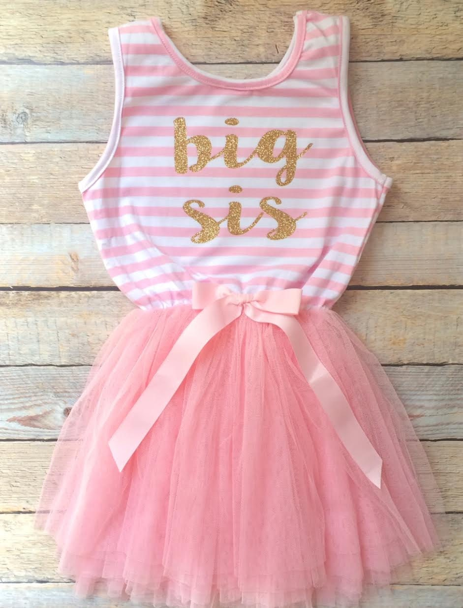 foto de Big Sis pink stripe tutu dress