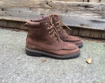 Leather Ankle Boots Eddie Bauer Chestnut Brown Vintage Made in Canada Size 6M US