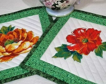 FLORAL QUILTED SET of 1 MugRug Candle Mat or Hot Pad Approx 10 inches square in Green Yellow Orange White. A Quiltsy Handmade on Etsy item