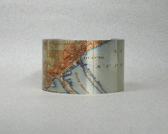 Duluth Minnesota Cuff Bracelet Hometown Map Unique Gift for Men or Women