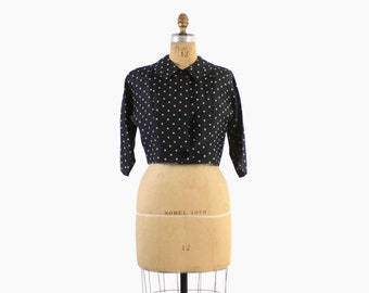 Vintage 50s SILK Blouse / 1950s Black Polka Dot Cropped Top or Bolero Jacket M