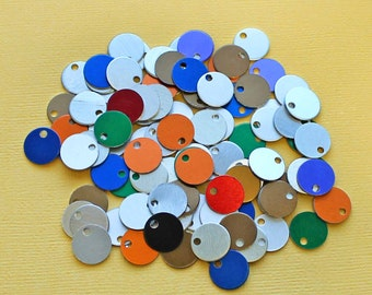 "25 Round Mini Anodized Aluminum Disc Mixed Colors 1/2"" Round 12.7mm - MT325"
