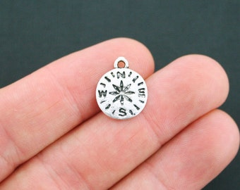 BULK 50 Compass Charms Antique Silver Tone Smaller Size - SC5120