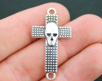 SALE 4 Skull Cross Connector Charms Antique Silver Tone 2 Sided - SC2054