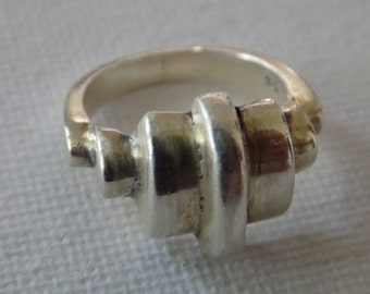 Unique size 6 modernist sterling silver 925 statement ring,jewelry