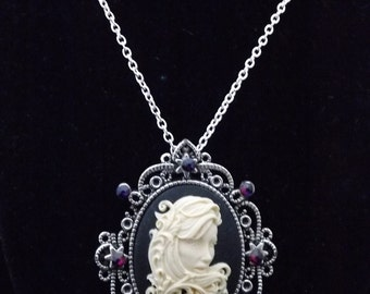 Gothic Filigree Lady, Gothic jewellery, Day of the Dead, Dia de los Muertos , gothic necklace, Gothic Pendants, curly girl, Gothic Victorian