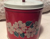 PRE SPRING SALE Vintage Large Red Tin Container Canister with White Flowers and Red Knob by National Can of New York 1960s