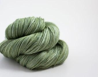 hand dyed yarn - LICHEN - Linden Sock Yarn - superwash merino/silk