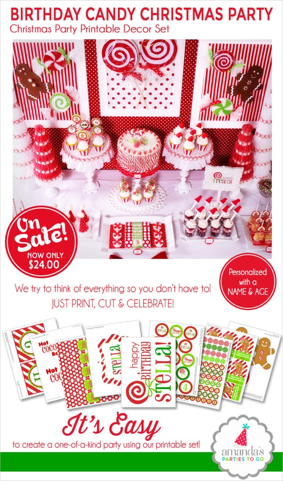 Christmas Birthday Party Printables | Christmas Party | Gingerbread Party | Hot Cocoa Bar | Amanda's Parties To Go