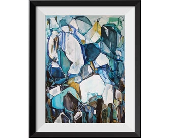Fine Art Print, Abstract Painting, Landscape Painting, Colorful Painting, Blue Teal Painting, Line Painting, Abstract Landscape, GICLEE