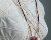 Treasure Pouch - Double Terminated Quartz Crystal, Ethiopian Opal & Shell Heishi  Earth Talisman