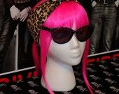 Leopard & Black Reversible Punk Rock Hair Wrap Head Scarf Hair Scarf 50s Pinup Rockabilly Hair Accessory