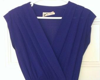 70's Faux Wrap Dress- Purple