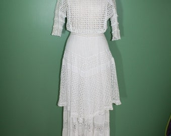 Antique Vintage Victorian Edwardian White Cotton Eyelet Lace Tiered Long Dress Wedding Dress Garden Party Dress