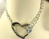 Day Collar Chain Choker BDSM Day Collar discreet mature Huge Heart Love slave jewelry heart collar bdsm collar sumbissive jewelry