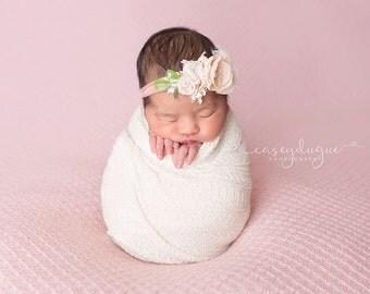 Newborn Tieback Headband, Newborn Tie Back, Blush Nude Cream, Newborn Photo Prop, Newborn Headband, Newborn Halo, Floral Crown, Delicate