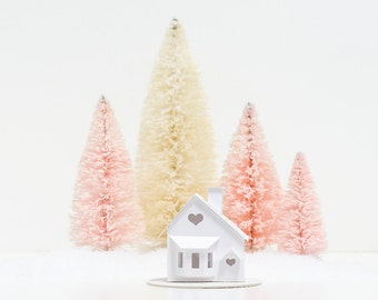Valentine Putz House DIY Kit Bay Window Glitter House Decoration Paper Craft Kit Winter Home Decor Winter Wedding Decor
