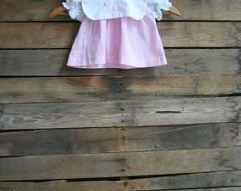 Vintage Children's Pink & White Gingham Dress by Alexis Size 6 Months