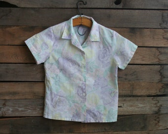 Vintage Children's Purple Floral Pastel Button Down Shirt By Garan Marita Size 10