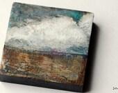 "Abstract Mini Painting: 2x2"" Original Art, Landscape Painting, Original Art, Abstract Mixed Media, Clouds gray, grey, teal, brown ""Rushing"""
