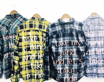 Bridal Party Shirts Personalized Custom Plaid Flannel Shirts. Fall Wedding brides engagement bridesmaids groom groomsmen quote maid of honor