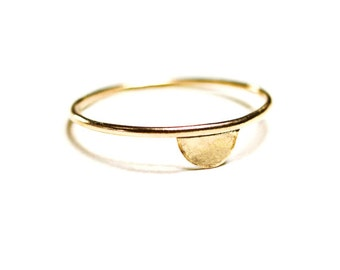 luna lacuna gold ring / 14k gold filled half moon ring / minimalistic half circle / hart and stone