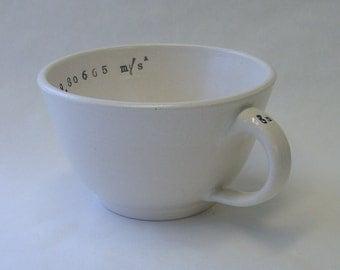 Gravitational Acceleration Porcelain Cappuccino Mug