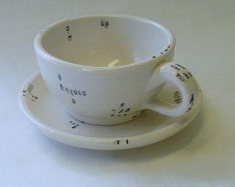Perl Code Porcelain Espresso Cup and Saucer Set v2.0