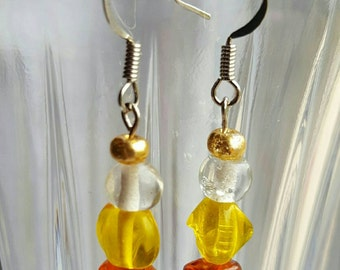 Tasteful Unique Fall Candy Corn Inspired Dangle Earrings