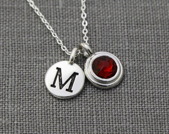 Silver Initial Mothers Necklace, Grandma Necklace with Birthstone, Garnet Necklace January, Garnet Initial Jewelry, Birthstone Necklace