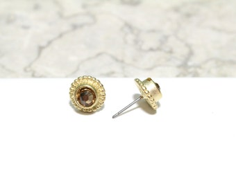 Gold Round Small Stud Earrings with Swarovski Crystal Center