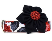 Dog Collar & Flower, Red Black Dog Collar, Dog Collar Flower / Black Floral Dog Collar, Girl Dog Collar