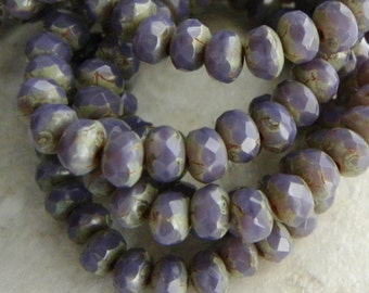 Rondelles, Opaque Purple with Picasso Finish, Czech Glass Faceted Beads, Tiny 5 x 3mm, TWO Full Strands