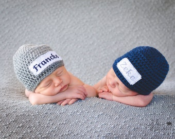 Crochet Baby Twins Set of 2 Personalized Name Cross Stitch Beanies - Newborn to 3 months - Dark Country Blue & Heather Grey - MADE TO ORDER