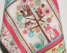 Baby Quilt, Friendly Forest Animals, Reversible, Girl Bedding, Nursery Decor, Woodland Fox Owls Flowers, Pink Brown Aqua