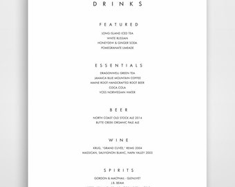 Bar Menu, Bar Menu Template, Bar Menu Printable, Bar Menu Wedding, Drink  Drinks Menu Template