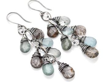 Moss Aquamarine Earrings, Black Rutilated Quartz, Moss Aquamarine & Herkimer Diamond Cascade Earrings, Luxe Aquamarine Dangle Earrings