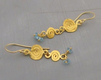 22k Gold Earrings - 22 karat gold and Apatite Earrings - Spirals Gold Earrings
