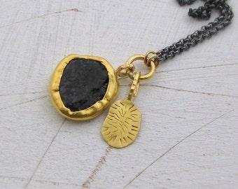 24k Solid Gold Pendants Necklace - Black Tourmaline Pendant - Gold & Silver Necklace - Statement Necklace