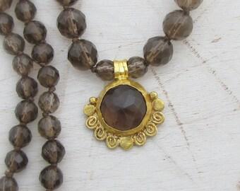 Smoky Topaz Gold Necklace - 22k Solid Gold Necklace - Fine Gold & Smoky Topaz Pendant