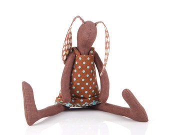 Plush brown stuffed rabbit doll ,handmade bunny , cloth bunny doll , timo-handmade eco fabric doll , rag doll , animal dolls , brown teal