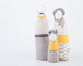 Modern family portrait dolls ,mother , mustachioed father & boy ,in Beige, black ,white ,yellow dots and plaid - timo handmade fabric dolls